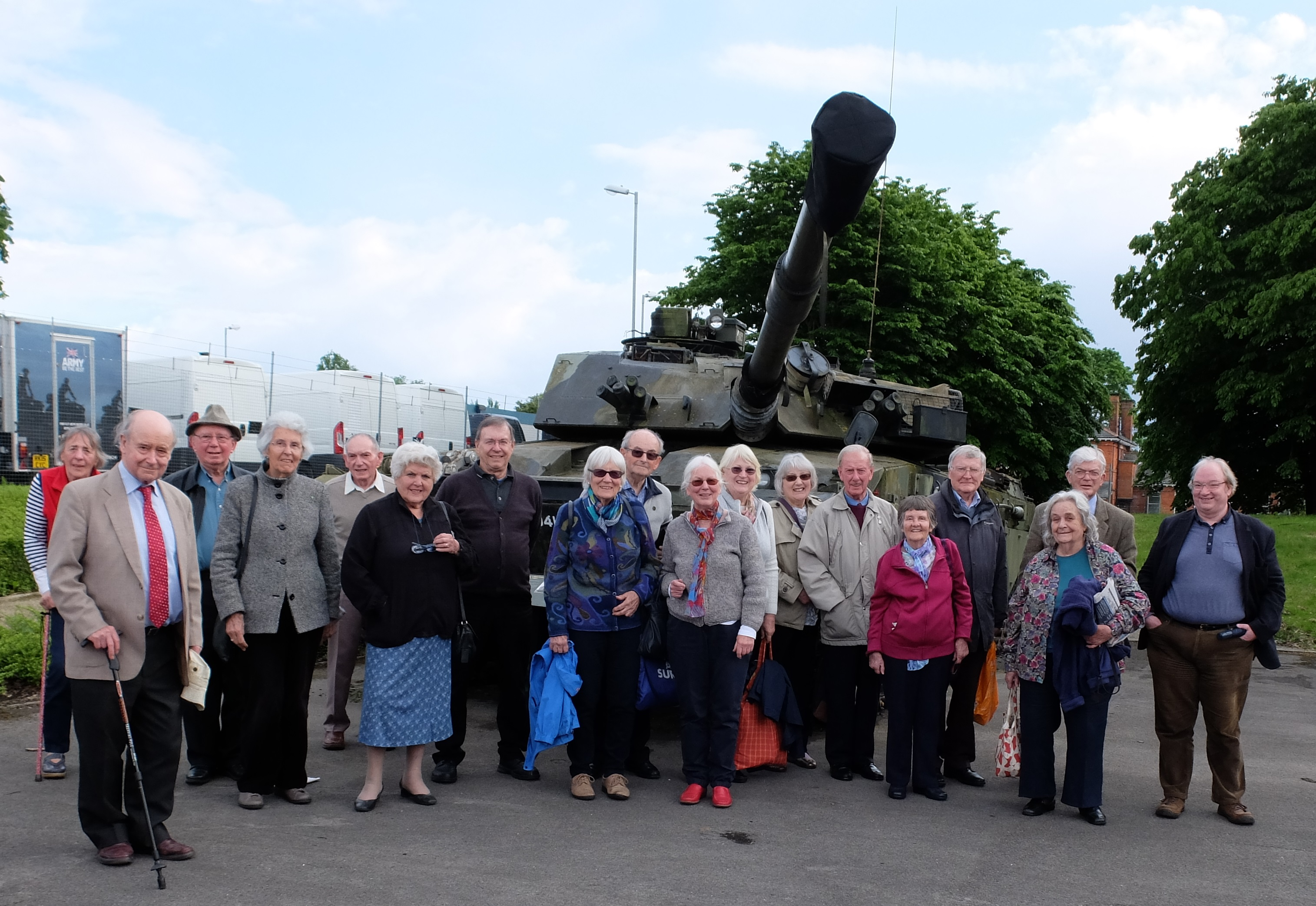 Group photo of the Friends at the Aldershot Military Museum after the Eltham Palace visit on the 19th May 2017.